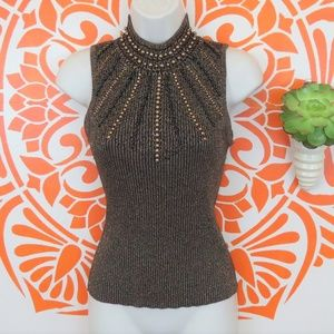Cache Brown Knit Beaded Tank Top Blouse